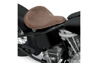 Drag Specialties Large Spring Solo Seat with Distressed Brown Leather and Perimeter Stitched - 08060050